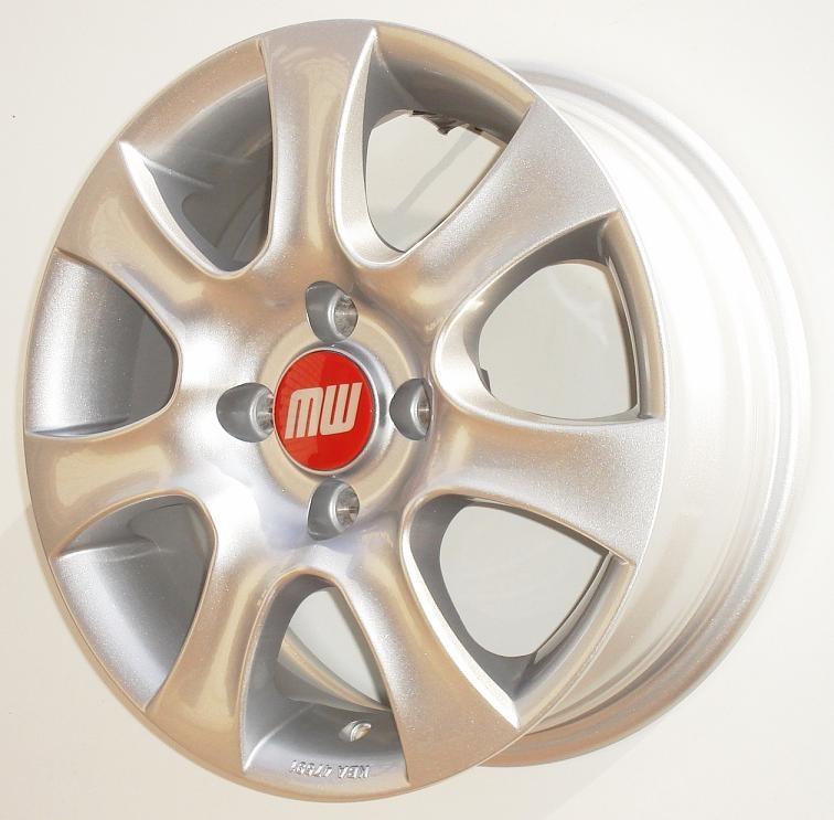 A-Rad 5,5X14 4/100 ET35  - silber metallic - zulässige Reifengrössen: 175/65R14, 185/60R14, 195/60R14 mit ABE